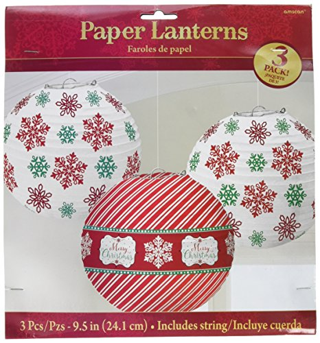 Christmas Paper Lanterns - Very Merry Christmas Printed and Striped Round Lanterns Party Decorations, Paper, 9