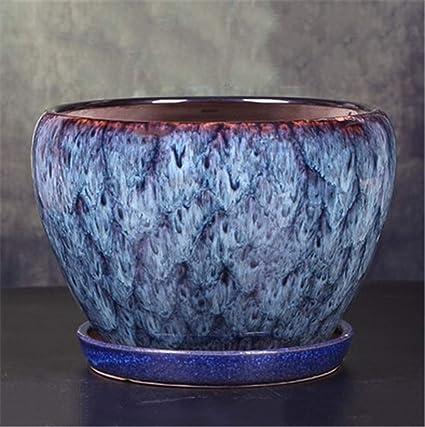 Amazon.com & Amazon.com: Large Sky Blue Ceramic with Tray Flower Pot ...