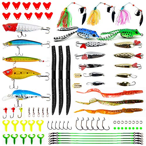 Apusale Fishing Lures Baits Tackle Including Crankbaits, Spinnerbaits, Plastic Worms, Jigs, Topwater Lures, Tackle Box and More Fishing Gear Lures Kit Set (Lure Fishing Set Bass)