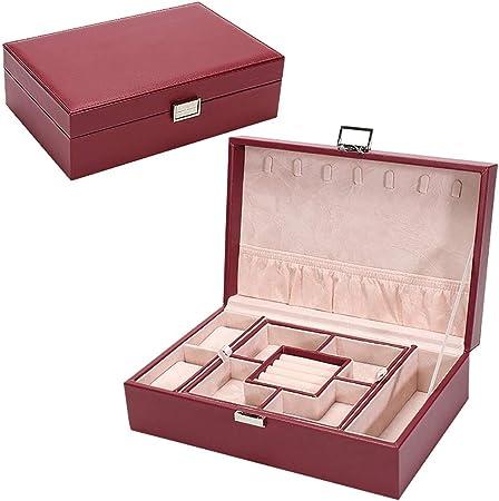 MIIAOPAI-Jewelry Box Joyero, Organizador De Joyas, Estuche De Viaje PortáTil, para Anillos, Aretes, Collares, Forro De Terciopelo (Rojo): Amazon.es: Hogar