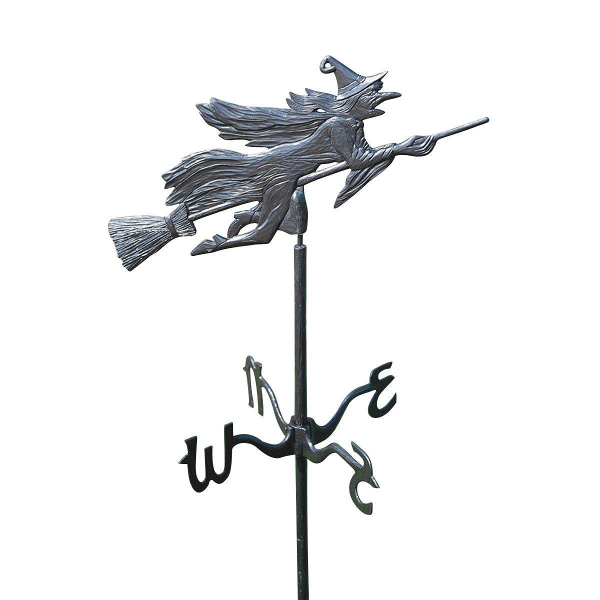 Design Toscano Windblown Wicked Witch Metal Weathervane with Garden Stake, 66 Inch, Aluminum, Black