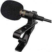 TECHVIDA Micrófono de Solapa Profesional, Omnidireccional Lavalier Micrófono Movil, Mini Grabación Pequeño Micrófono…
