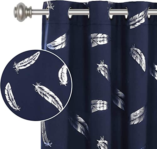 Blackout Curtains Panels for Bedroom – Feather Design Silver Foil Printed Window Panels Thermal Insulated Curtains 95 inch Length Ring Top Curtains Drapes for Living Room 2 Panels 52×95 Inch, Navy