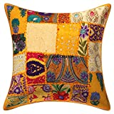 Decorative Cushion Cover ''Cotton Handmade Patchwork Embroidered Sequin Beads Ethnic Flowers leaves Geometric Square Scatter Floor Pillow Case 24 X 24 Inch Indian Cushion pillow Cover 1 piece