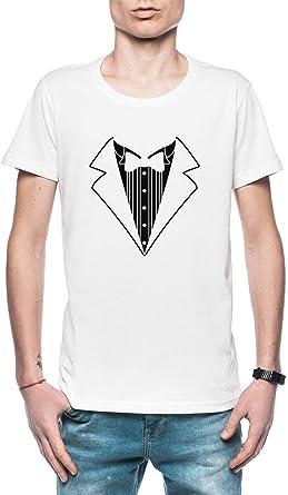 Falso Tux Smoking Traje Corbata Hombre Camiseta Blanco Tamaño ...