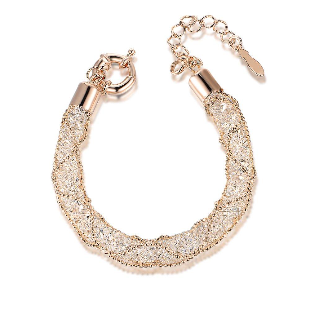 Mytys Fashion Bracelet Mesh Crystal Bracelets Rose Gold Bangle for Women Girl B226