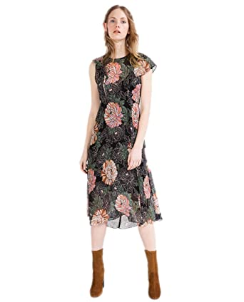 b7f9e51f53b WeHeart Women Tropical Print Retro Cut Out Back Chiffon Dress at ...