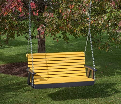 Ecommersify Inc 5FT-Yellow-Poly Lumber ROLL Back Porch Swing Heavy Duty Everlasting PolyTuf HDPE – Made in USA – Amish Crafted