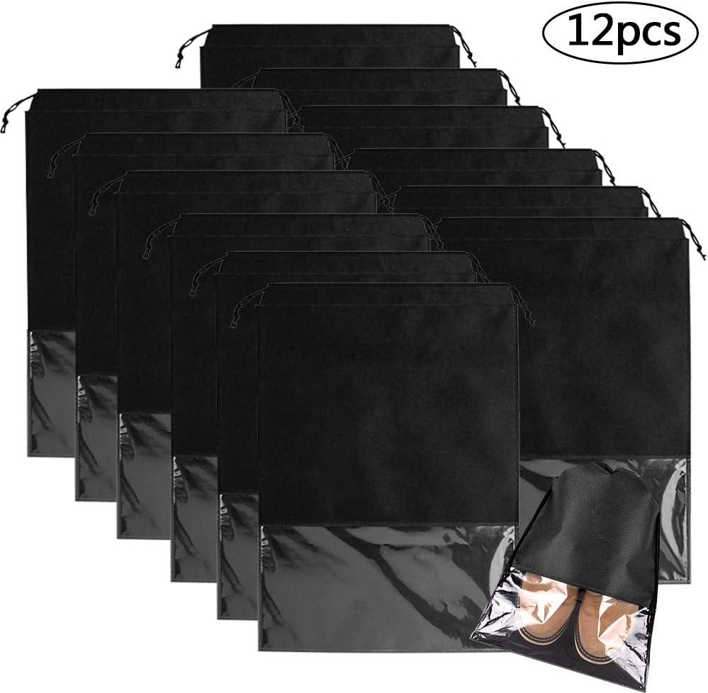 BETOY 12 Pcs Bolsas de Zapatos, Zapatos de Viaje Bolso,Multifunción A Prueba de Polvo No Tejidas Portátil Bolsas para Zapatos Plegable Ventana Transparente Con cordón: Amazon.es: Equipaje