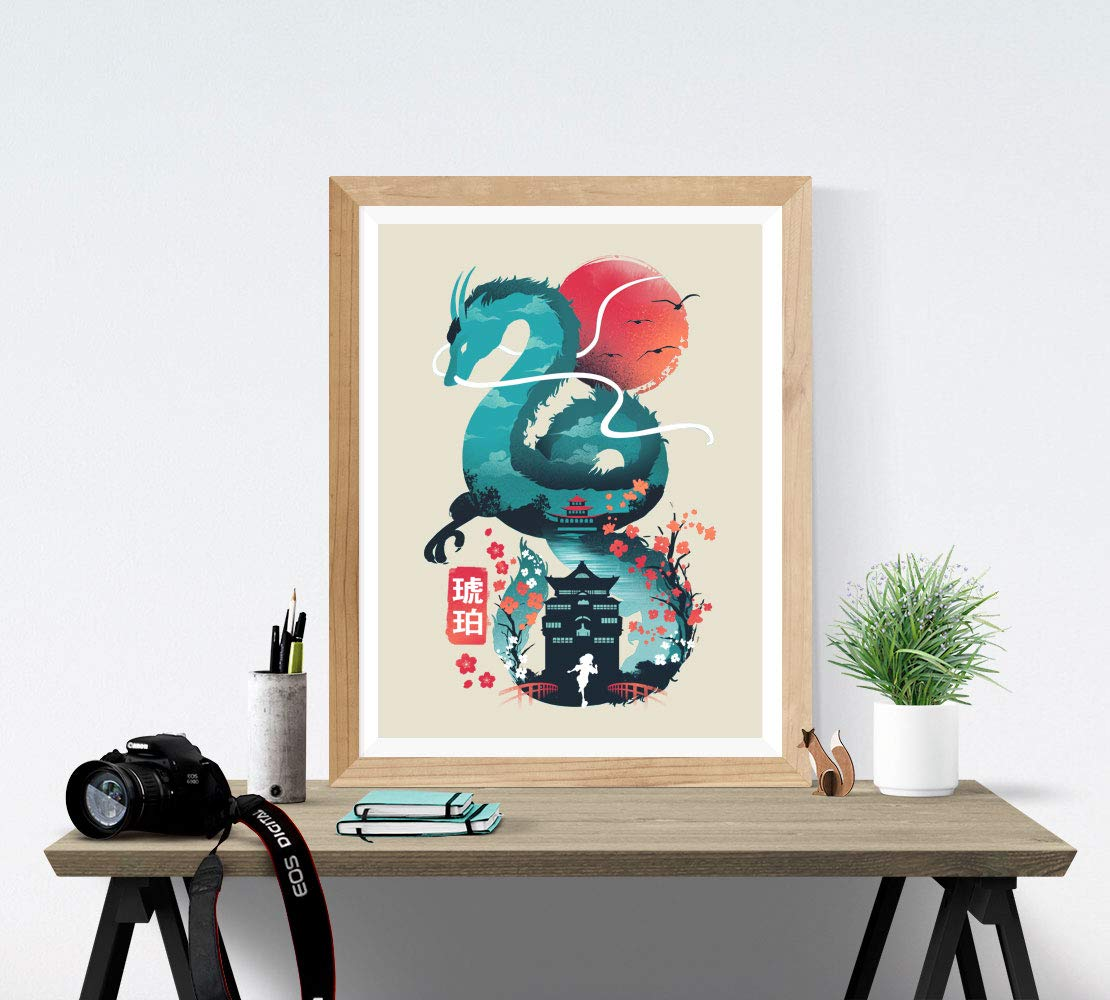 Amazon Com Spirited Away Art Print Studio Ghibli Wall Art 18 X 24 Unframed Japanese Anime Artwork Haku Dragon Print Hayao Miyazaki Wall Hanging Cool Movie Home Decor Chihiro Bathhouse Illustration Handmade
