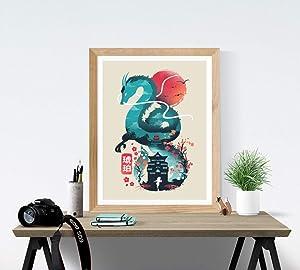 Spirited Away Art Print - Studio Ghibli Wall Art 18 x 24 Unframed Japanese Anime Artwork Haku Dragon Print Hayao Miyazaki Wall Hanging Cool Movie Home Decor, Chihiro Bathhouse Illustration