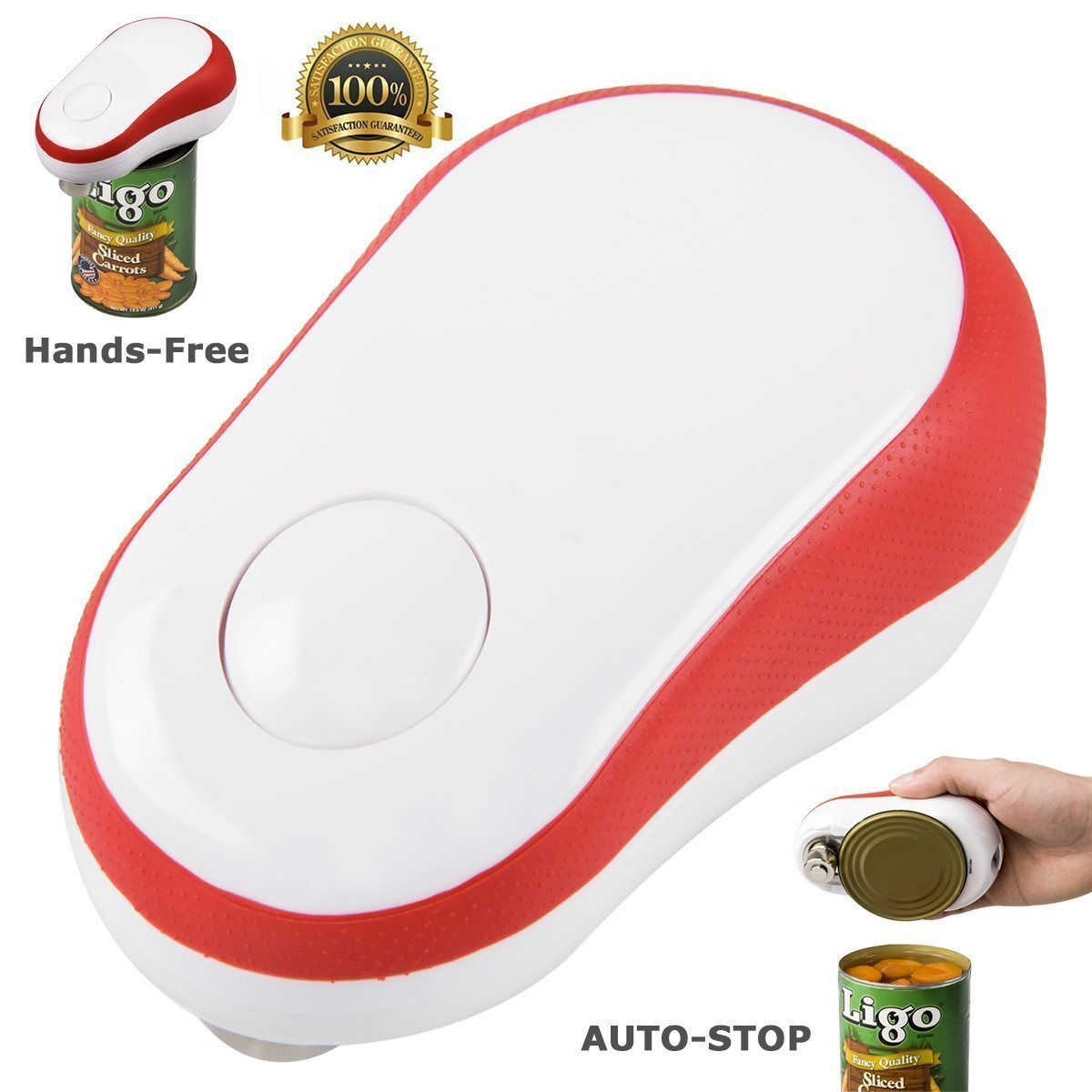 Electric Can Opener, Restaurant Can Opener, Can Master Automatic One Touch Hands Free Smooth Edge Can Opener for Arthritis (Red) by Can Master