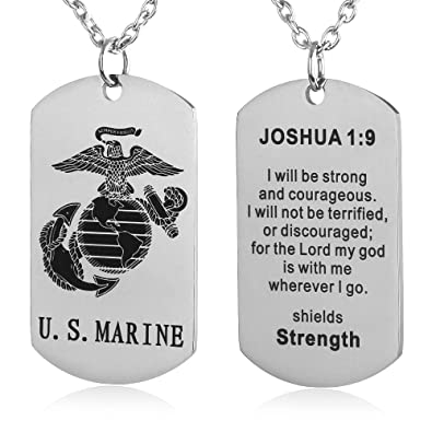 FAYERXL US Marine Corps Dog Tag Necklace Birthday Gift Ideas to Husband Son Joshua 1  sc 1 st  Amazon.com : gift ideas for son - princetonregatta.org
