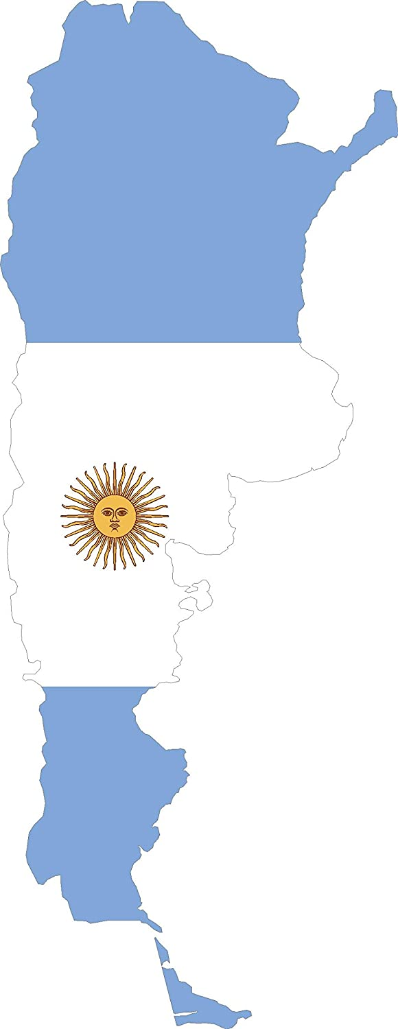 Map with Flag Inside Argentina 7x3.4 Sticker Decal die Cut Vinyl - Made and Shipped in USA