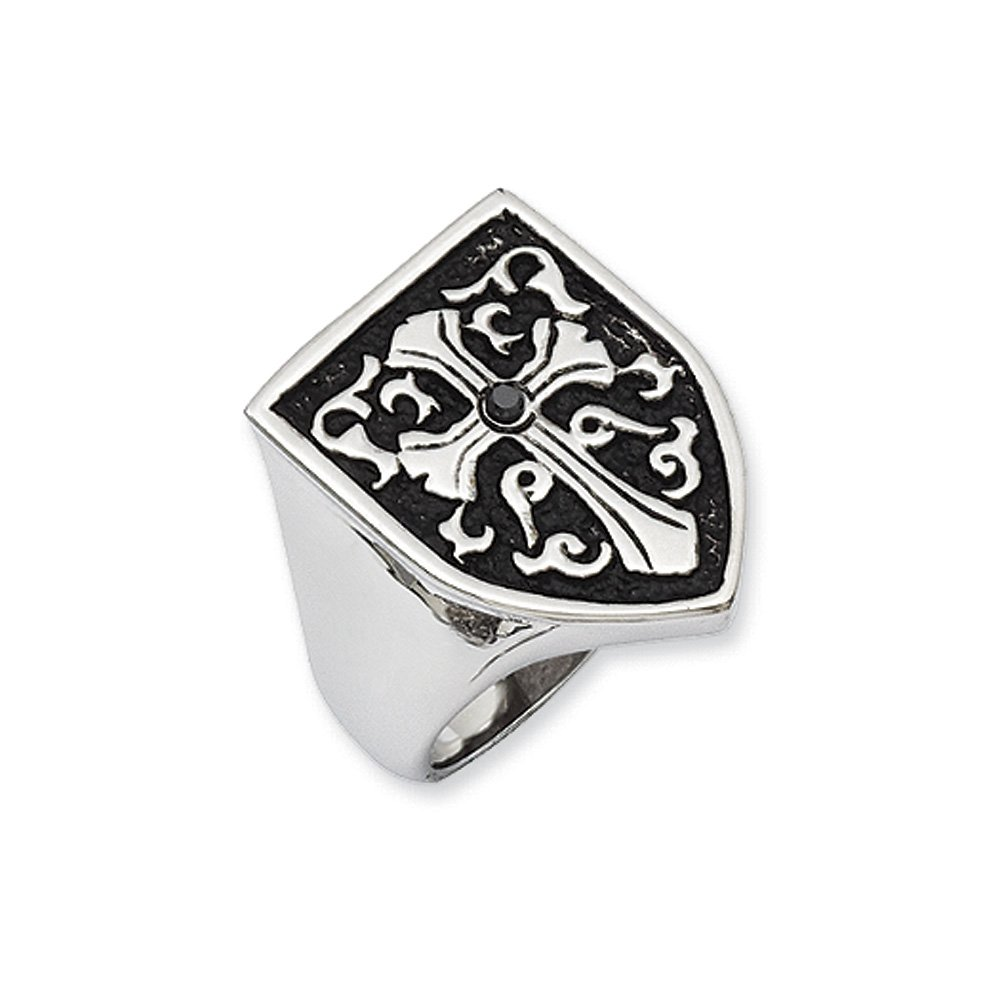 Stainless Steel And Black Diamond Cross Shield Ring Size 12