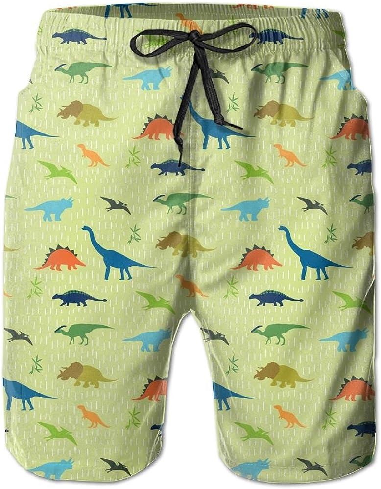 Horizon-t Beach Shorts Dinosaur Mens Fashion Quick Dry Beach Shorts Cool Casual Beach Shorts