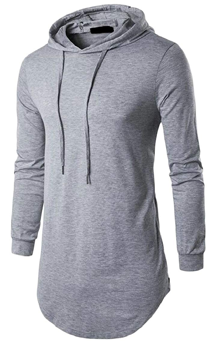 Mens Hoodie Long Sleeve Solid Color Mid Long Pullover Sweatshirts