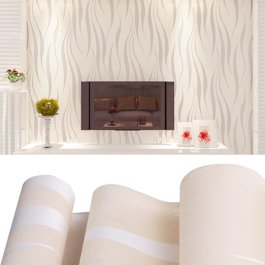 Oanon 3D beige Non Stick Wallpaper Non-woven Wallpaper Roll, Luxury Background Wallpaper Contemporary Wallpaper by Oanon (Image #3)