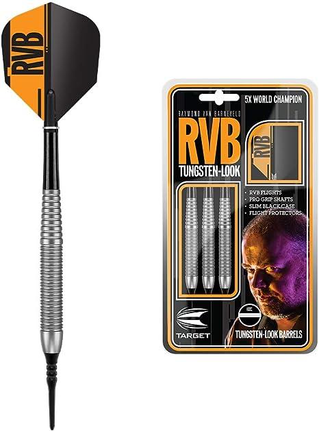 Target Darts Raymond Van Barneveld RVB Jeu de fl/échettes /à Pointe Souple en Laiton Argent/é 18 g