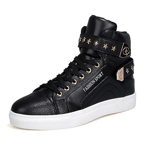 2ab0326d139 PP Fashion Men s Korean Style High Top Platform Fashion Sneaker Sports  Casual Shoes Black 7.5D