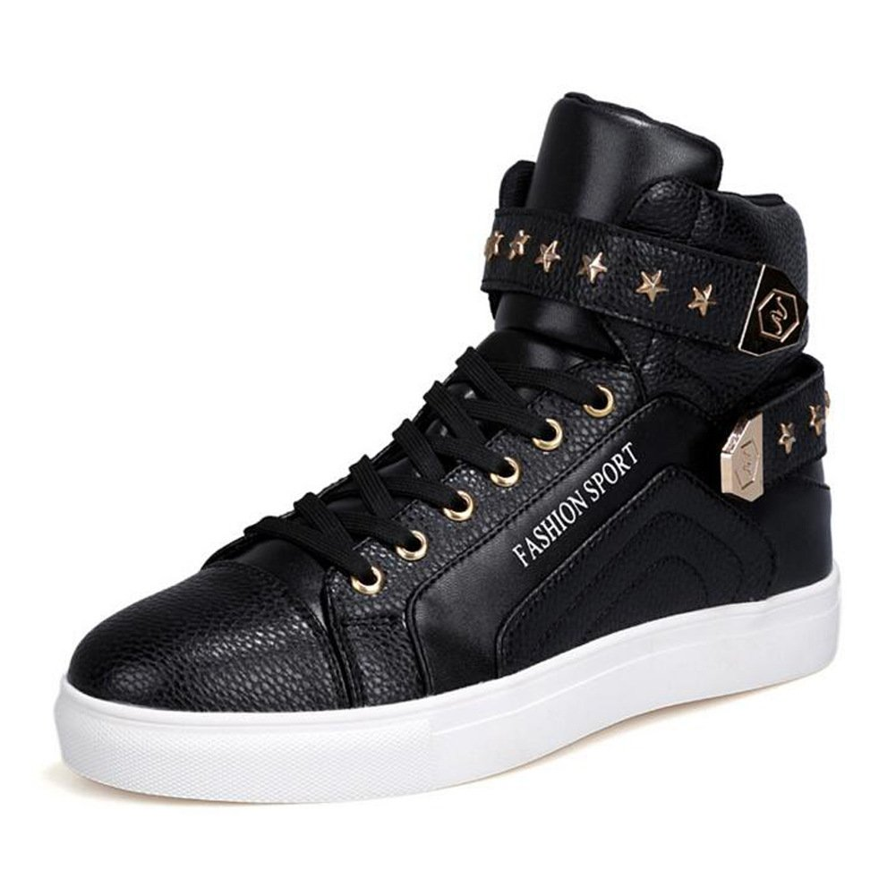 PP FASHION Men's Korean Style High Top Platform Fashion Sneaker Sports Casual Shoes Black 9D(M)