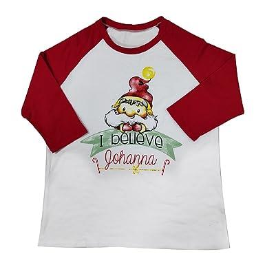 741db5b60 Amazon.com: Aring Women Plus Size I Believe Johanna Printed Christmas T-Shirt  Raglan 3/4 Sleeve Casual O-Neck Tops: Clothing