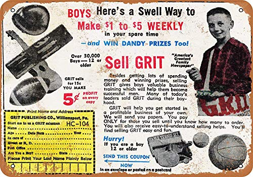 (1964 Sell Grit Newspapers and Make Money Vintage Look Novelty Metal Sign for Home 8 x 12 Tin Sign Man Women Cave Decor)