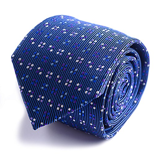 Qobod classic ties mens silk necktie gift boxes blue polka purple white sky dots luxury - Executive Case Vertical
