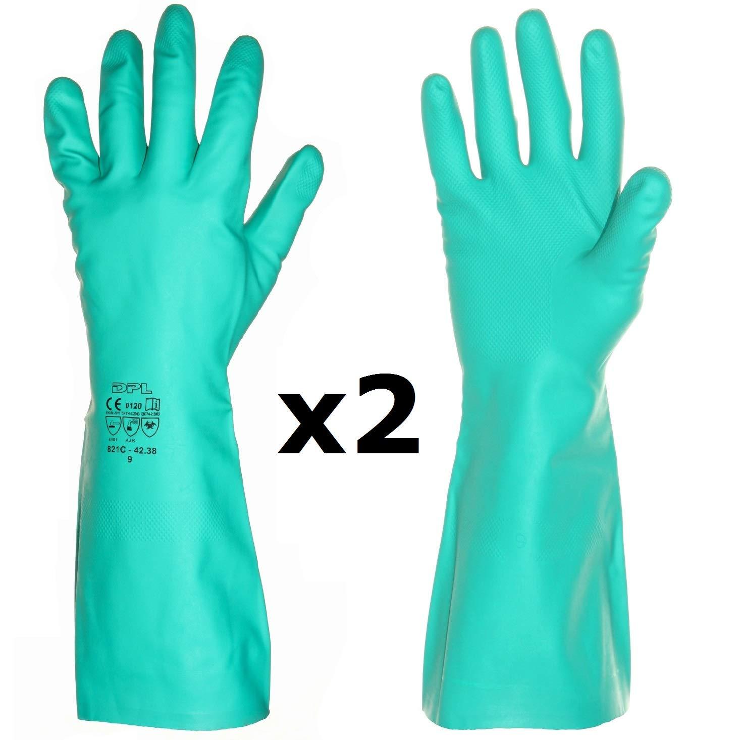 1 Paio, 8M bagno pulizia, Guanti lunghi di gomma professionali da nitrile laboratorio industria per cucina