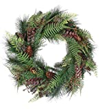 Artificial Fern Glen Mixed Pine Wreath with Pine Cones Everyday Wreath 20 Inch