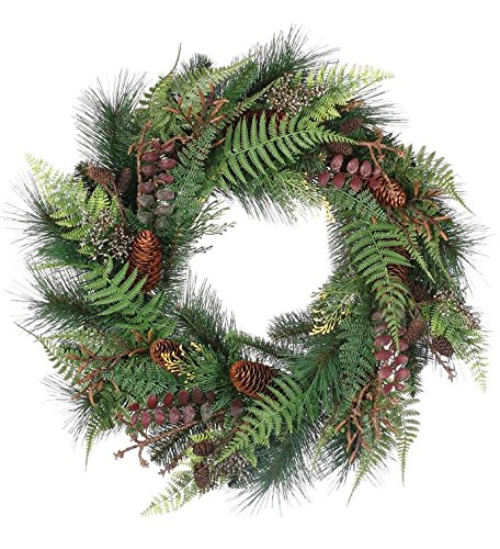 Artificial Fern Glen Mixed Pine Wreath with Pine Cones Everyday Wreath 20 Inch by Napco