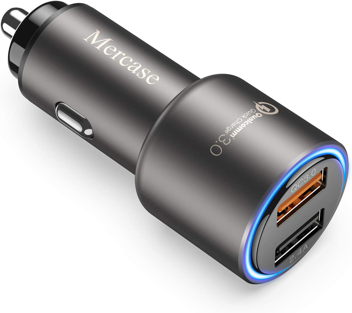 Space Grey Mercase 30W Metal Dual Ports USB Fast Car Charger Adapter,12V Car Phone Charger for iPhone Xs X Max XR 8 7 6S 6 Plus Samsung Galaxy S9 S8 S7 S6 Edge Note 9 8 Quick Charge 3.0 Car Charger