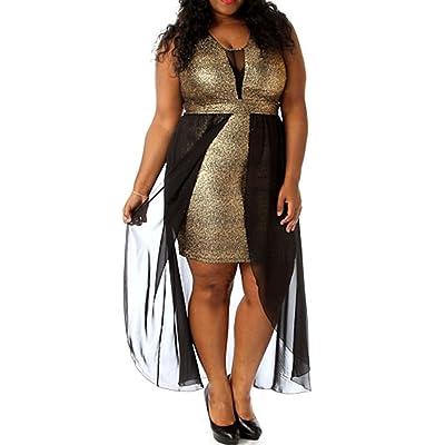 RED DOT BOUTIQUE 8514 - Plus Size Black Mesh Chiffon Hi Low Layered Cocktail Metallic Gold Dress: Clothing
