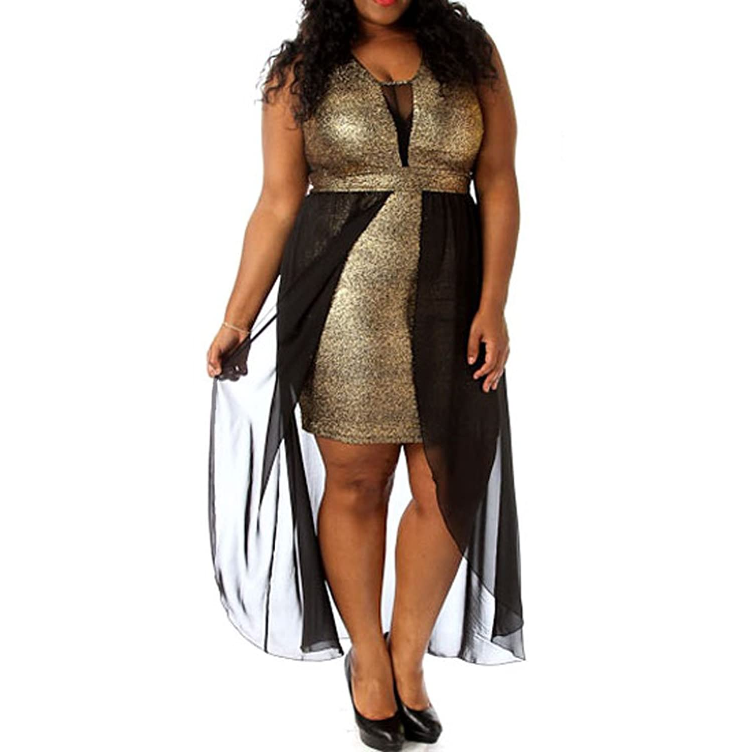 8b40a9f87e Metallic dress fully lined inside. Padded at chest. Black chiffon hi-low  design. Stretchy mesh at v neck and back. Stunning metallic gold bodice.