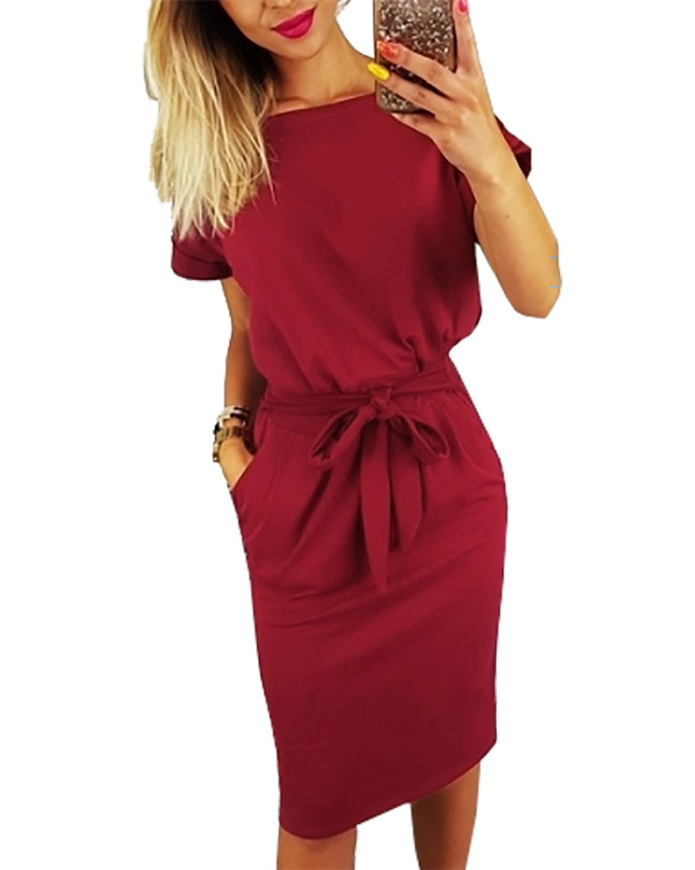 PRETTYGARDEN Women's 2018 Casual Short Sleeve Party Bodycon Sheath Belted Dress with Pockets (Wine Red, Small)