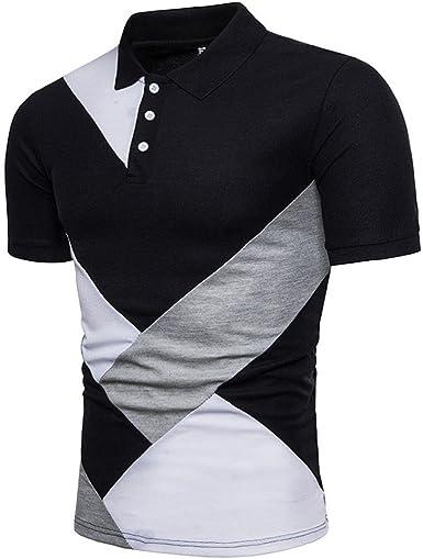 Camisas de Hombres, Dragon868 Casual Slim Patchwork Camisa ...