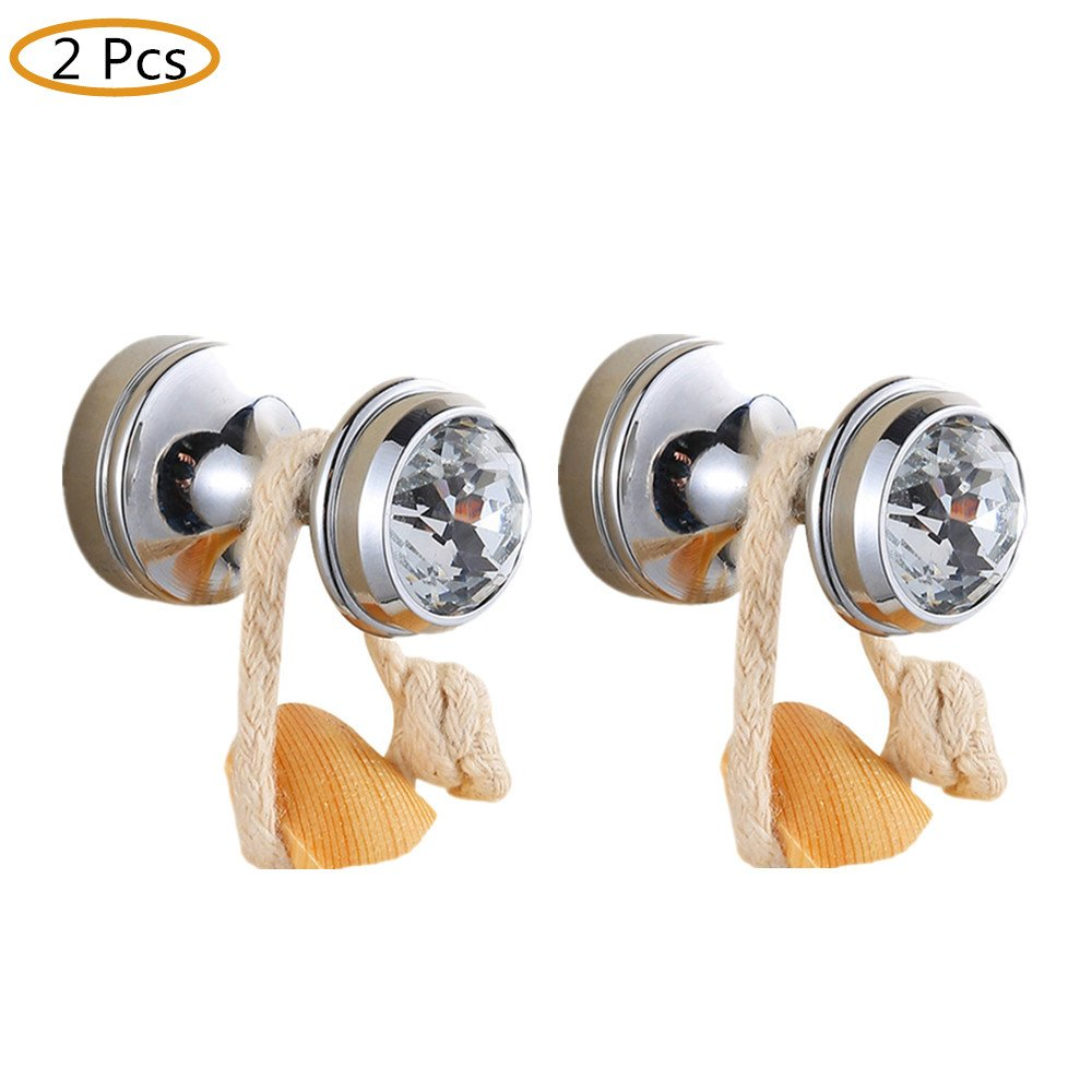 WINCASE Modern 2 Pieces Towel Holder Robe Hook Clothes Hook, Wall Mounted Brass Construction Bathroom Accessories Chrome finished