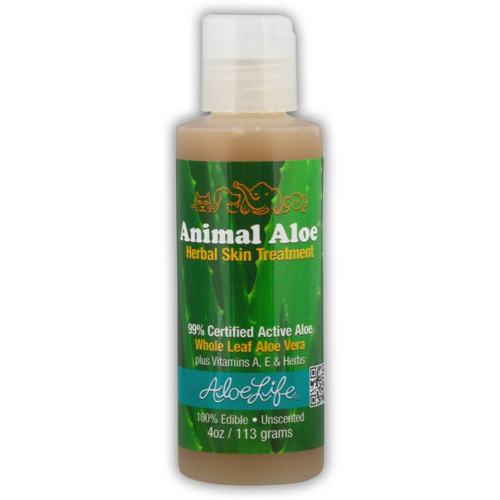 Aloe Life - Animal Aloe, Digestive Aid and Skin Treatment, Soothes Hotspots, Flea Bites and Irritation, Supports Pets Digestive Health and Overall Wellness (Unscented, 4 Ounce)