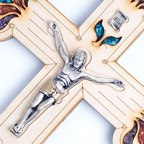 """Beautifully Detailed Pewter Corpus Wall Wood Cross Crucifix Made in the Holy Land 13"""""""