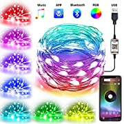 4-FQ Fairy String Lights USB Fairy Lights Plug in Color Changing Led String Lights RGB 16.4ft Starry Lights Sync to Music Firefly String Lights Bluetooth APP Timer Copper Wire String Lights Bedroom