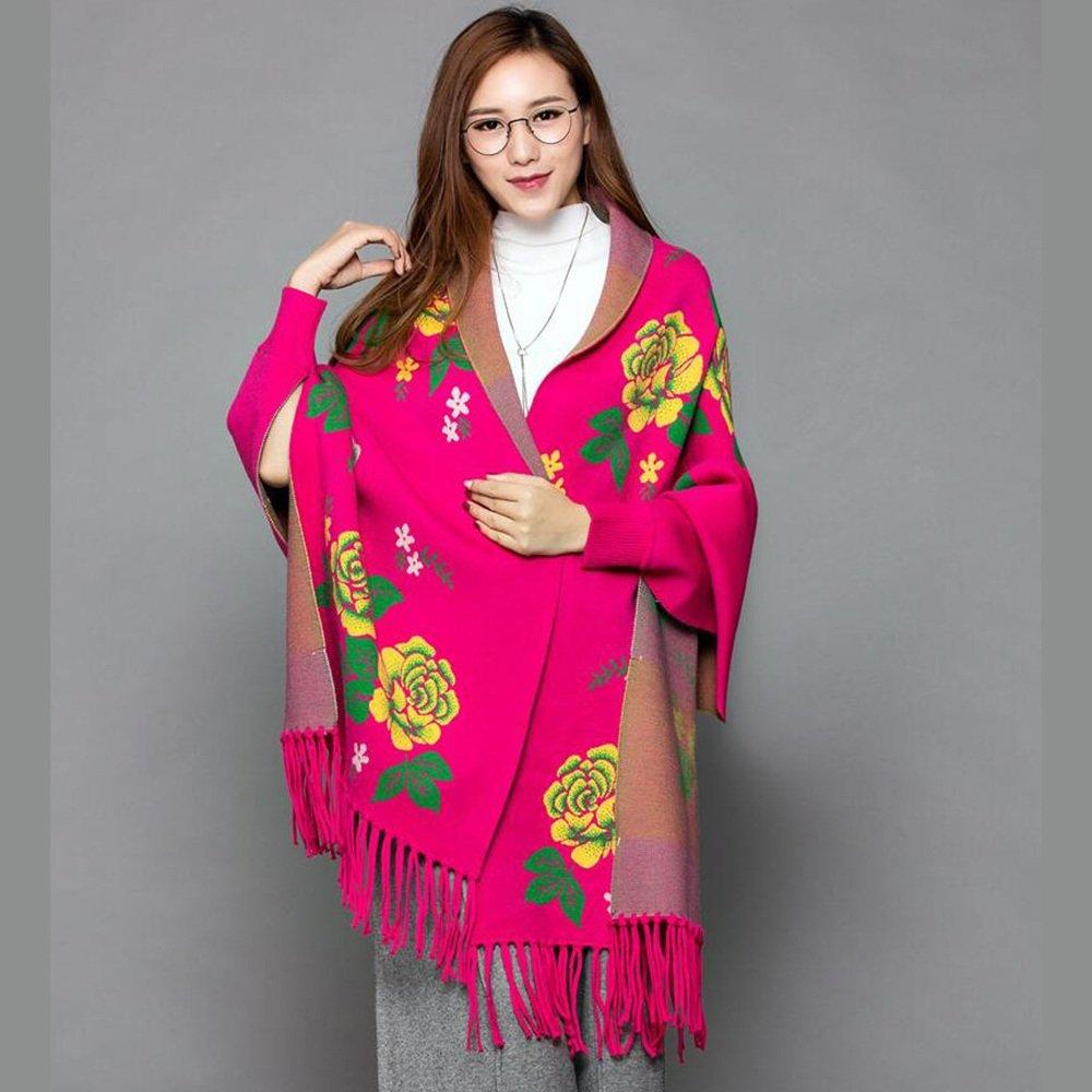 HAIZHEN alla moda alla moda Cappotto di sciarpa della sciarpa della madre delle donne autunno ed in inverno maglia manica lunga spessa mantello Morbido e caldo ( Colore : Rose red )