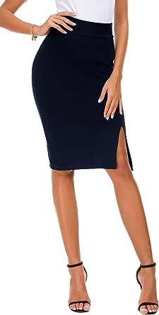 EXCHIC Lápiz de Mujer Bodycon Falda de Negocios Hendidura Lateral Dobladillo