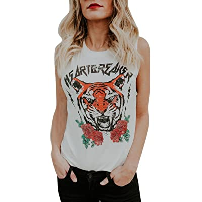 Lavany Women Crop Tops Flower Tiger Printed Summer Loose Sleeveless Blouse For Women