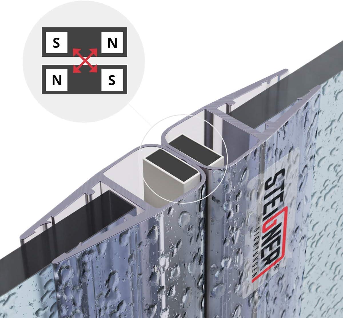 2 pi/éces 7 mm STEIGNER Kit de Joints Magn/étiques pour les Vitres d/'une /Épaisseur 6 mm 8 mm UKM02 180/° 187 cm