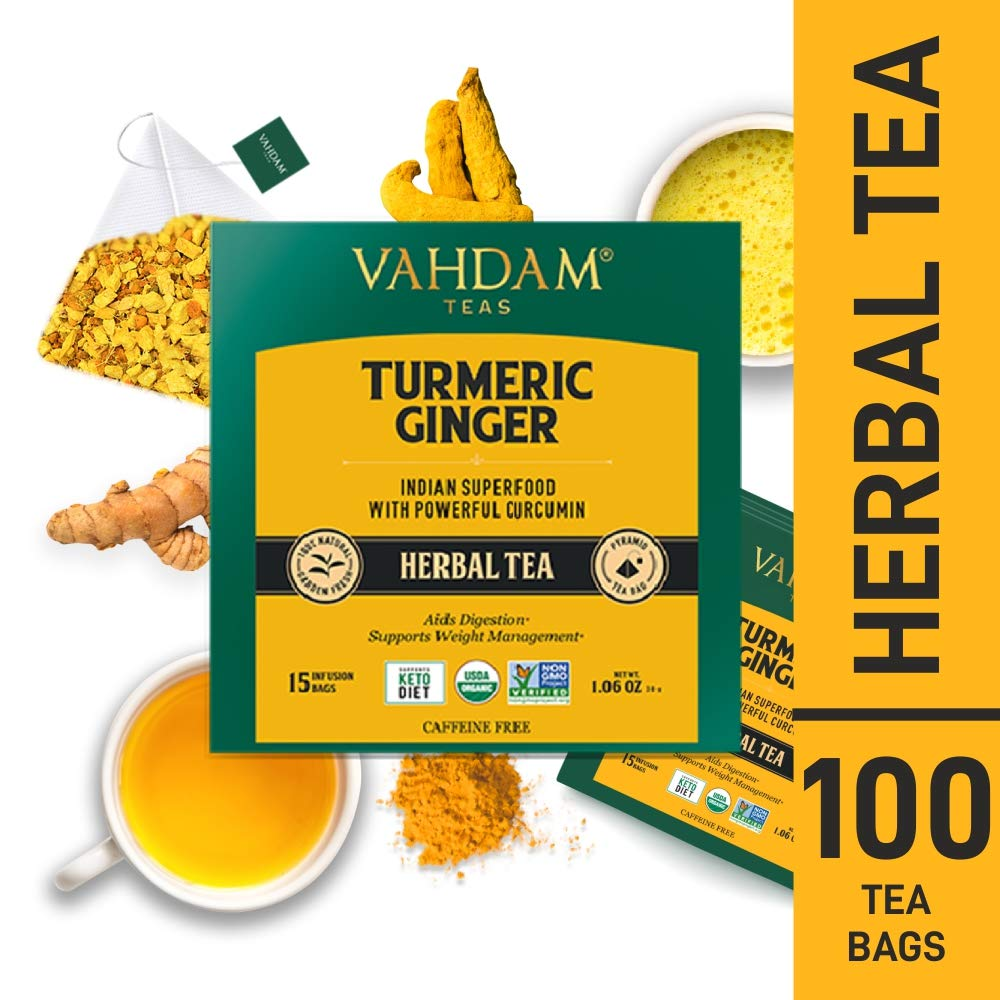 VAHDAM, Turmeric + Ginger POWERFUL SUPERFOOD Herbal Tea, 100 Count