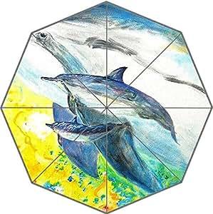 Custom DIY Good Quality Hot Sea Dolphin Pattern Foldable Waterproof Sunny Rain 43.5 inch Umbrella