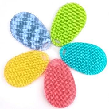 ISKYBOB 5 Piezas Silicona Cepillo Suave Para Limpiar Lavar De Platos Macetas Sartenes Vegetales Y Frutas