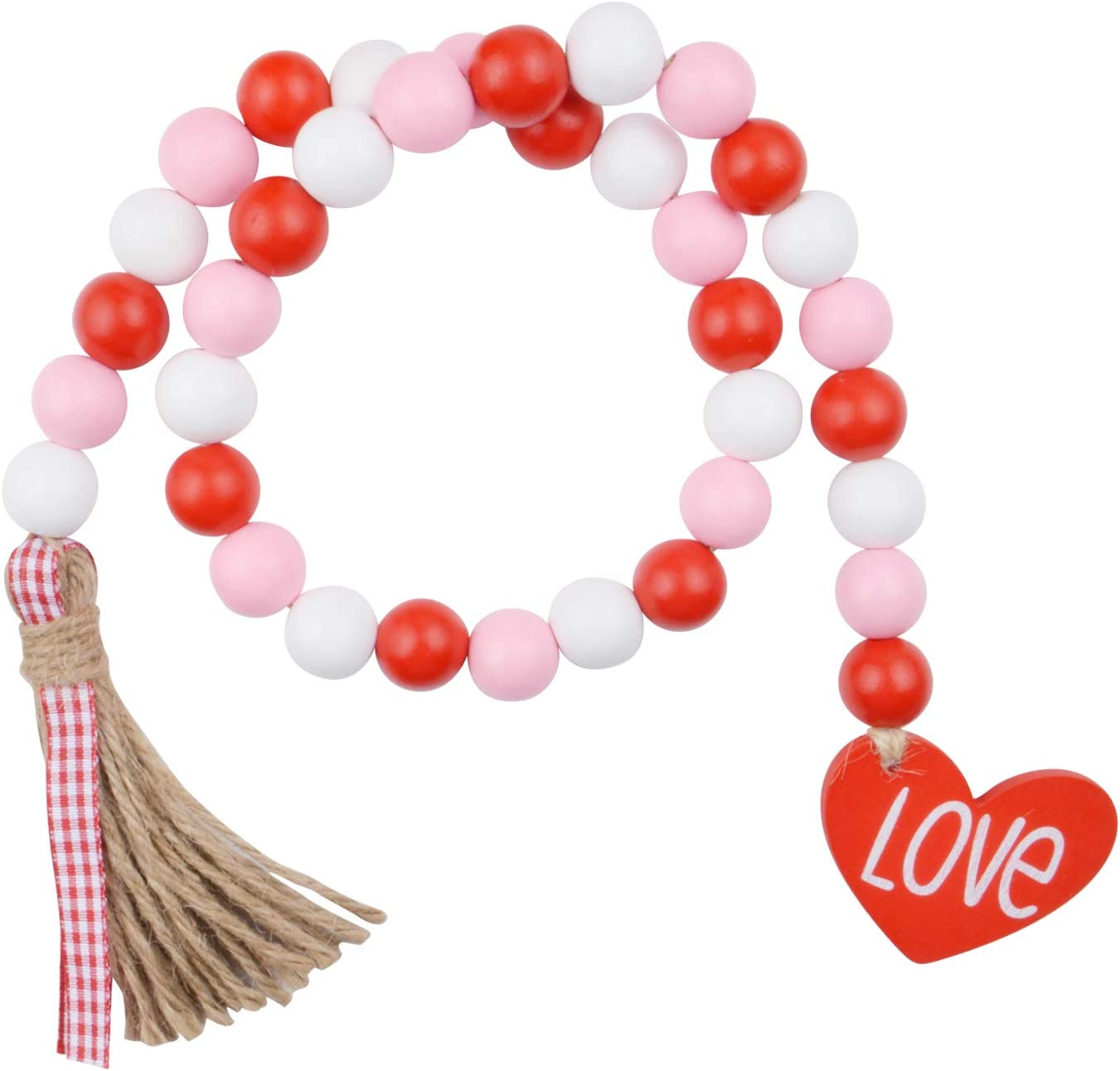 Wood Bead Garland Mothers Day Farmhouse Beads Tassel Garland With TasselsWooden Tag Tiered Tray Garland Large Natural Beads Garland