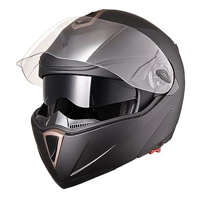AHR Full Face Flip up Modular Motorcycle Helmet DOT Approved Dual Visor Motocross Matt Black XL: Automotive