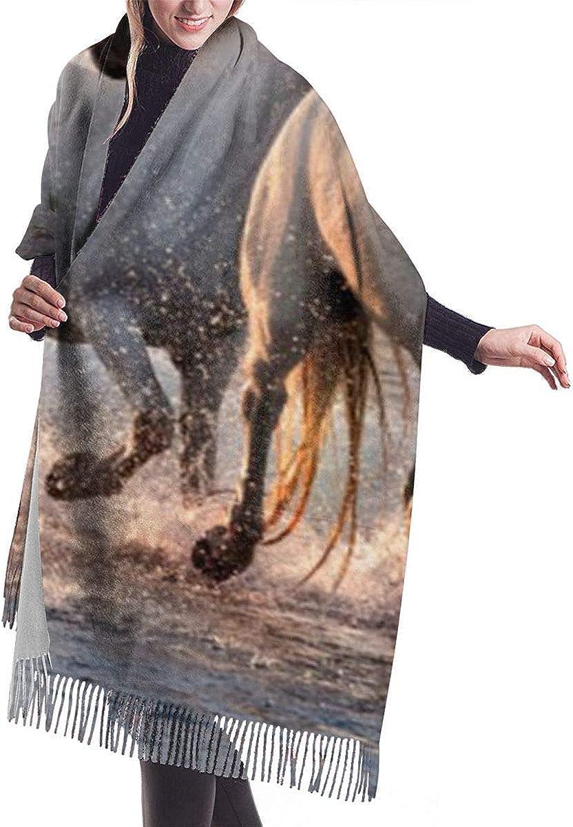 GYTHJ Caballos Camargue Francia Imita Cachemira Siente Invierno Bufanda Pashmina Mantón Envolturas Suave Manta Cálida Bufandas Elegante Abrigo Para Mujeres